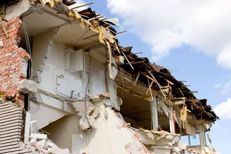 A half-way demolished building