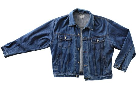 kurtka: Stare męskie niebieski denim jacket, odizolowane na białym
