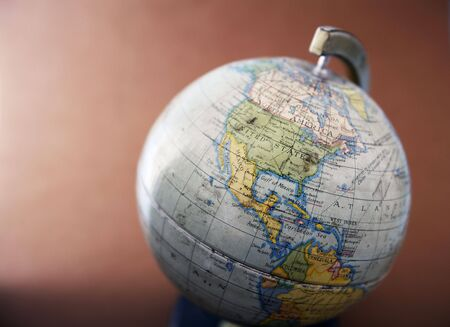 social history: A close-up of an old toy globe. Stock Photo