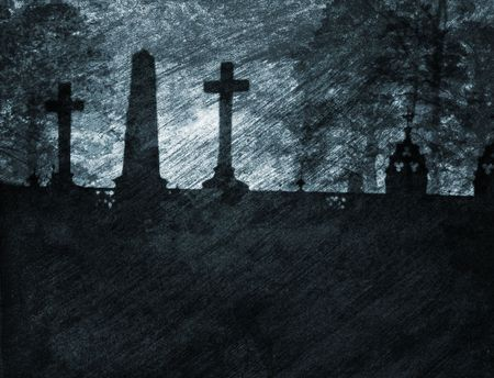 gritty: Grainy and gritty photocomposition of an old graveyard