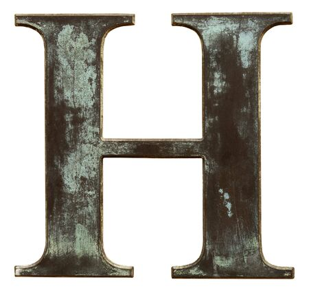 h: Metallic letter H isolated on white