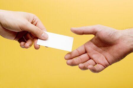 Handing a  card Stock Photo - 3423964