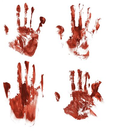 bloody hand print: Bloody handprints on paper Stock Photo