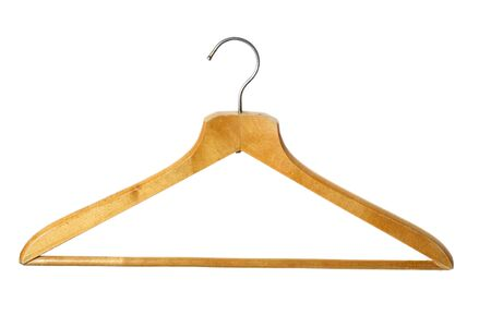 coathanger: Old wooden coat hanger, isolated Stock Photo