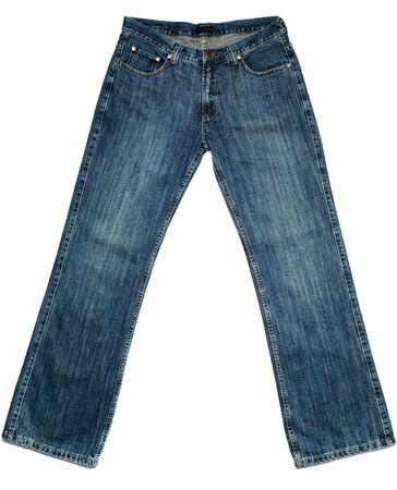 denim jeans: Mens new jeans, on white background. Stock Photo