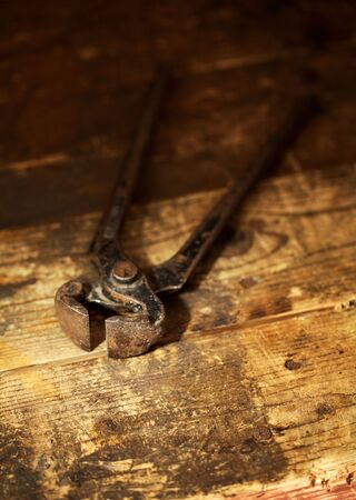 Old rusty pincers. Very short depth-of-field