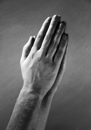 hands clasped: Hands clasped in a prayer.