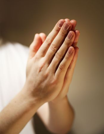 clasped hand: Hands clasped in a prayer.