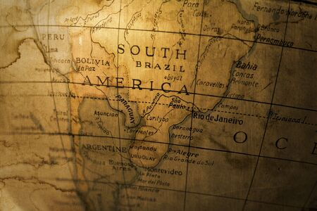 gritty: gritty photocomposition of an old map of South America
