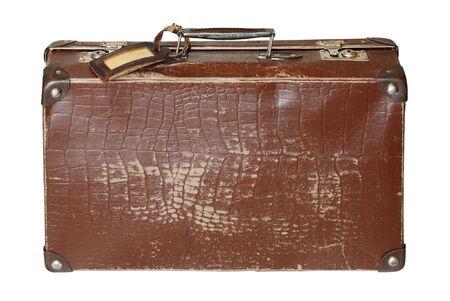 fourties: Old brown cardboard suitcase