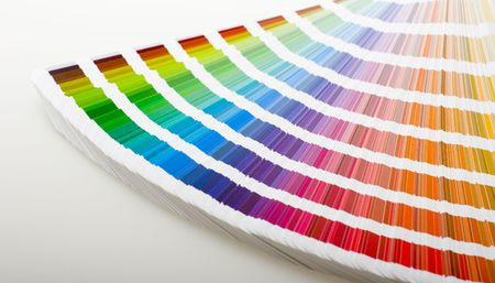 offset printing: CMYK printing color swatches.