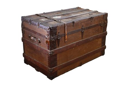 old container: Old, worn and dirty steamer trunk isolated on white Stock Photo