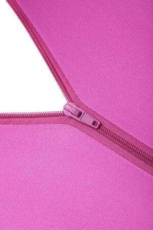 stretchy: Zipper of a fuchsia colored garment