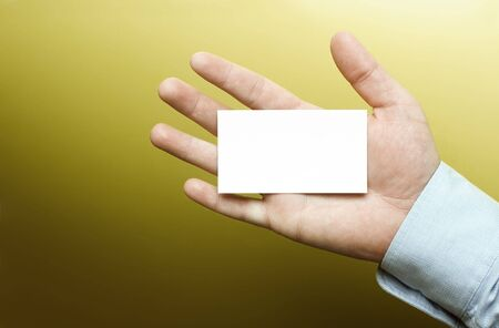 Blank business card on a hand Stock Photo - 3435632