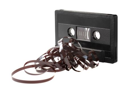 C-Cassette with tangled tape isolated on white Stock Photo - 3435946