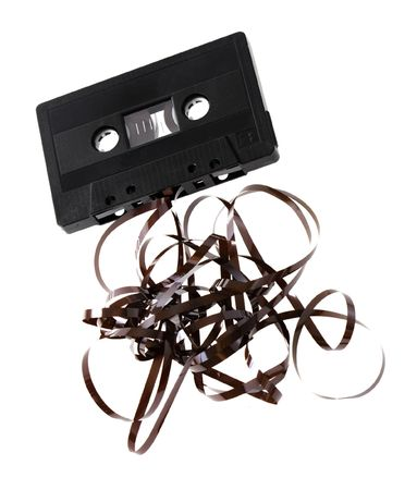 Audio C cassette with tangled tape isolated on white Stock Photo - 3435950