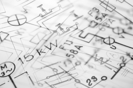 schematic: Digital photocomposition of hand-drawn electric blueprints, suitable for background