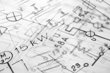 dibujo tecnico: Fotocomposici�n digital de la mano de tracci�n el�ctrica planos, aptos para fondo