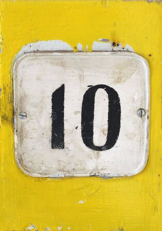 numbering: Number 10 on an old sign Stock Photo
