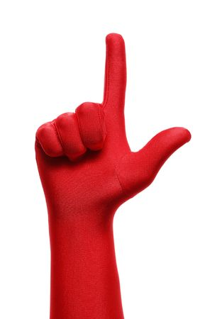 Strange hand with red glove pointing with a finger Stock Photo - 3636556