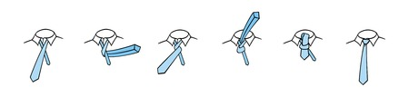 instruct: Four in hand necktie knot