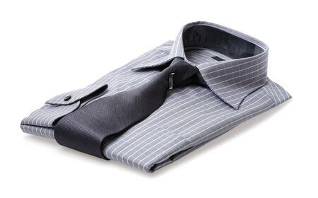 chemise carreaux: A Plaid shirt avec une cravate en soie soigneusement pli�s Banque d'images