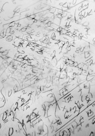 A Background image made of hand written mathematical formulas Stock Photo