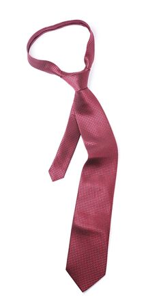 Red silk necktie on white