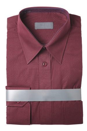 Dark red mens dress shirt isolated on white photo