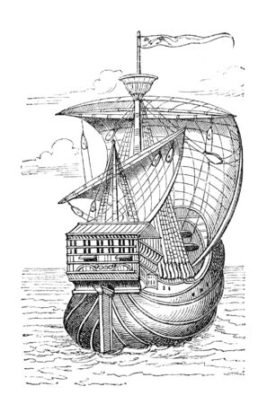 Columbus ship Originally published in swedish book 1882, now in public domain  Stock Photo - 4639545