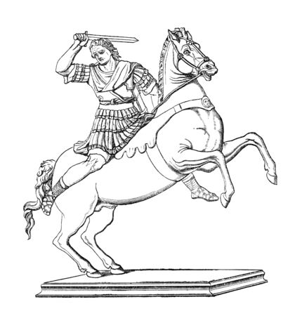 Engraving of Alexander the Great. Originally published in swedish book  1882, now in public domain  photo