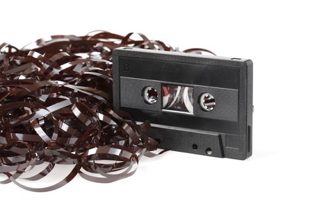 Old audio cassette with a heap of tangled tape Stock Photo - 4766674