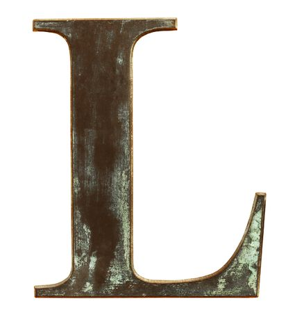Worn and dirty metallic letter L isolated on white photo
