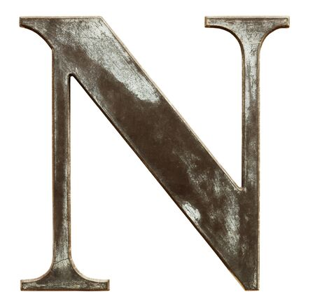 letter n: Worn and dirty metallic letter N isolated on white