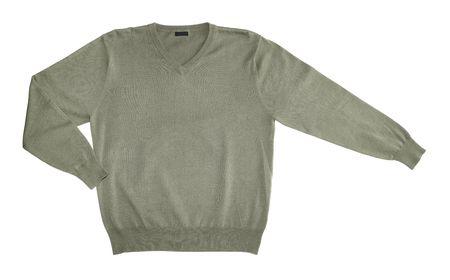 tejidos de punto: Prendas de punto de algod�n jersey verde aisladas en blanco Foto de archivo