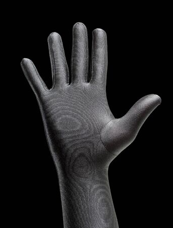 gloved: Strange hand with a black glove Stock Photo