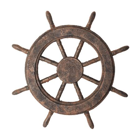 antiqued: Decorative fake antiqued boat steering wheel isolated on white