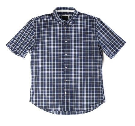 sleeved: Mens casual plaid summer shirt on white