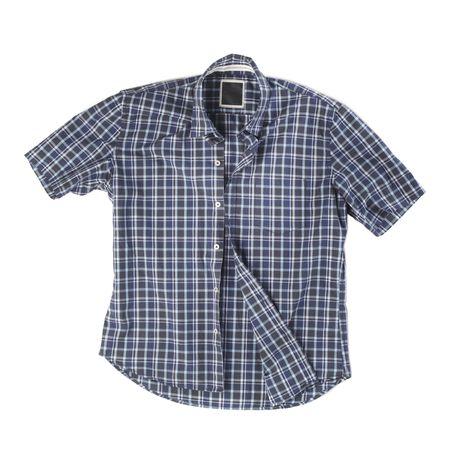 short sleeved: Mens short-sleeved blue plaid cotton shirt on white