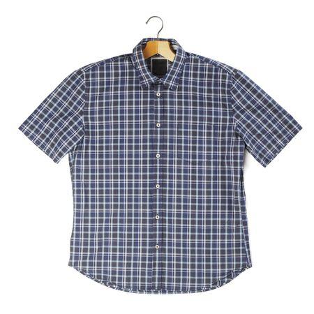 short sleeved: Mens short sleeved plaid cotton shirt on a hanger