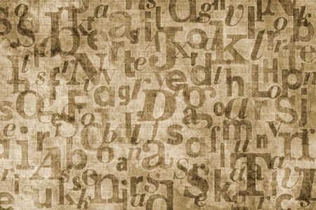 superimposed: Grainy and gritty background image made of letters from old newspapers superimposed on eachother.