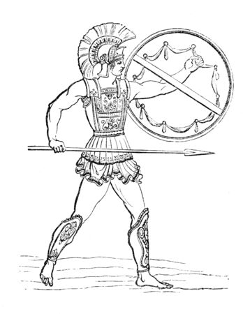 hellenic: Vintage illustration of a Hellenic Warrior. Originally published in swedish book Historisk l�sebok published in 1882. The image is currently in public domain.