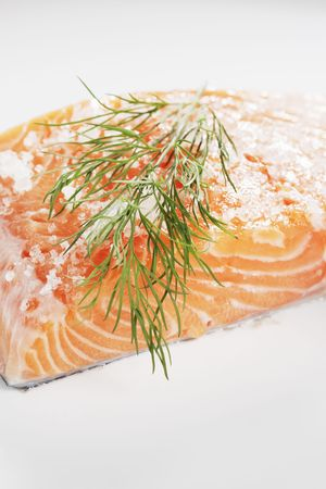 cured: Scandinavian cuisine. Sugar and salt cured salmon gravlax with dill