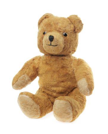 Vintage teddy bear toy sitting on white Stock Photo - 5613961