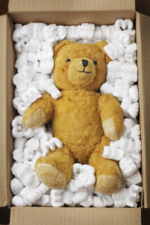 Old teddy bear in a cardboard box with styrofoam packaging Stock Photo - 5613968