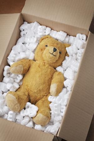 safely: Vintage teddy bear safely in a cardboard box.