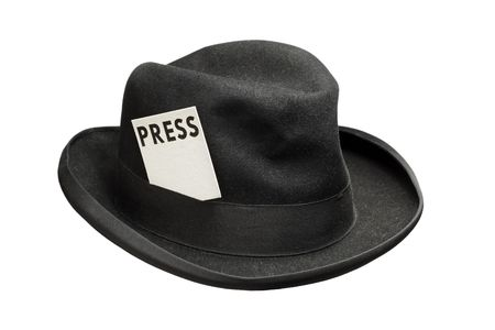 fedora hat: Old fedora felt hat with a press card Stock Photo