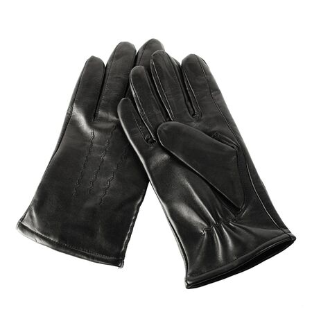 black gloves: Pair of new black mens leather gloves isolated on white Stock Photo