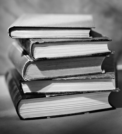 A black and white image of stacked old books Stock Photo - 6138434