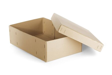 Vintage open cardboard shoe box isolated on white with natural shadows